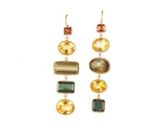 Citrine, Tourmaline & Garnet Earrings set in 14k Gold - www.annaruthhenriques.com