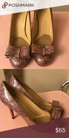 Kate spade glitter bow pump Excellent used condition, size 10 kate spade Shoes Heels