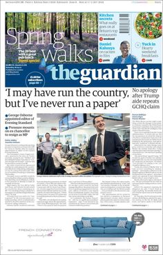Portada de The Guardian (United Kingdom) Great Walks, Newspaper Design, How To Apologize, The Guardian, Britain, United Kingdom, Cover Pages, Journal Design, England