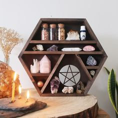 We make crystal shelves in all different shapes and sizes incorporating spiritual symbols and sacred geometry to allow you to create a magical sacred space in your home! Crystal Altar, Crystal Box, Crystal Garden, Crystal Room Decor, Displaying Crystals, Crystal Shelves, Geometric Shelves, Crystal Aesthetic, Japanese Interior Design