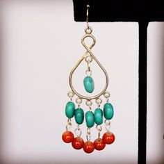 Turquoise and carnelian earrings by HaydeeDesigns on Etsy https://www.etsy.com/listing/216497298/turquoise-and-carnelian-earrings #handmade #valentine #jewelry