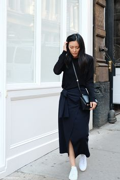 Black Everlane sweater, navy Opening Ceremony Skirt, Givenchy bag + Adidas Stan Smith trainers | Andy Heart | @styleminimalism