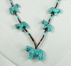 Authentic Native American Horse Fetish Necklace by Navajo Hector Goodluck