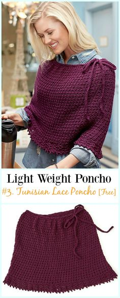 Crochet Tunisian Lace Poncho Free Pattern-Light Weight Spring Summer #Poncho; Free #Crochet; Patterns