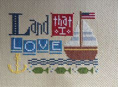 completed cross stitch Lizzie Kate Land that I LOVE 4th of July Independence day