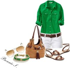green, created by bonnaroosky on Polyvore.....love the green!