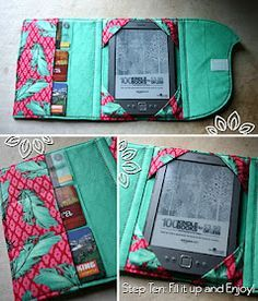 ereader cover tutorial...for when i get tired of mine.  instead of spending 40 bucks on etsy for a new one, i could have mom help me make one for the price of two fat quarters.