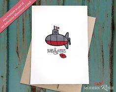Subs and Kisses - Submarine Sweetheart Card - Valentine