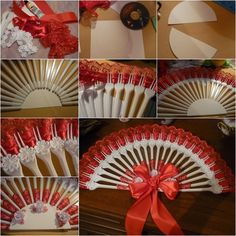 DIY Upcycled Plastic Fork Fan  //  . Materials: •Plastic forks •Laces(ribbons) •Cardboard •A CD or anything in circle •Scissors •Decoratives (eg flowers, beads) •Glue