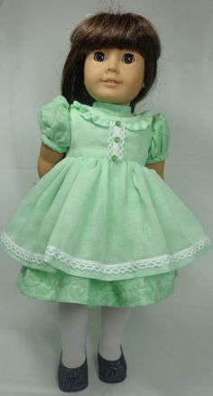 Doll Dress Made to Fit American Girl Doll Mint by MissyCrissy2, $40.95