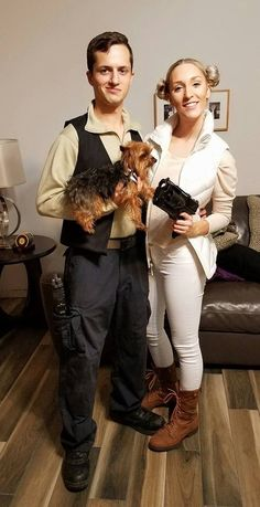 Easy couples costume - Han Solo and Princess Leia with puppy Chewbacca