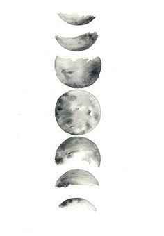 'moon phases' Hi by Rachael Ryan #watercolor #moonphases #hirachaelryan