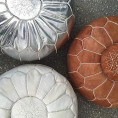 Moroccan Leather Pouffe – Tan – Maison & Maison