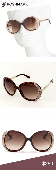 Authentic 💯💝❤️NWOT Jimmy Choo Snakeskin Leather Women's Havana Brown Millie Snakeskin Leather-Trimmed Tortise Shell look Sunglasses..  Oversized square frames, glossy or matte rims, snakeskin trim, saddle nose bridge, integrated nose pads Logo lettering at gold-tone temples, cushioned tips, gradient- or mirror-tinted lenses, 100% UV protection 56mm lens width, 19mm bridge width, 135mm temple ....        comes with CASE and CLEANING CLOTH Jimmy Choo Accessories Sunglasses
