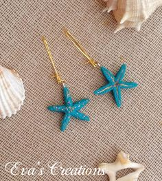 starfish earrings with gold details Starfish Earrings, Summer Jewelry, Summer Collection, Polymer Clay, Jewelry Making, Crystals, Detail, Gold, How To Make