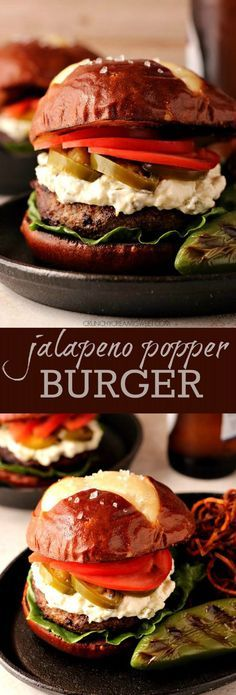 Jalapeno Popper - burger grilled to perfection and topped with jalapeno popper filling. Spicy, juicy and perfect game day food! Jalapeno Poppers, Jalapeno Burger, Hamburger Recipes, Beef Recipes, Cooking Recipes, Top Recipes, Cooking Tips, Gourmet Burgers, Beef Burgers