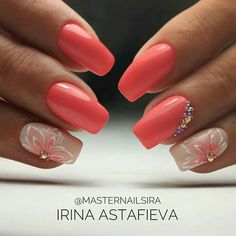 and Beautiful Nail Art Designs Orange Nails, Pink Nails, Nail Manicure, Toe Nails, Acrylic Nail Designs, Nail Art Designs, Coral Nail Designs, Acrylic Nails, Coral Nails With Design