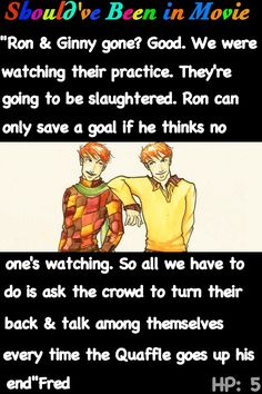 Harry Potter and the Order of the Phoenix Should've Been in Movie Fred and George Quidditch Ron Ginny funny Harry Potter Comics, Harry Potter Artwork, Harry Potter Merchandise, Harry Potter Facts, Harry Potter Love, Harry Potter Universal, Harry Potter World, Harry And Ginny, Harry Potter Collection