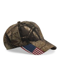 Outdoor Cap CWF305 - Cap with Flag - Show your patriotism while exploring the outdoors with this Real Tree camo hat.
