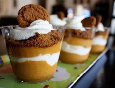 Pumpkin-gingersnap parfait; easy to pre-prepare; nice for a crowd on sukkot; #parve #recipe