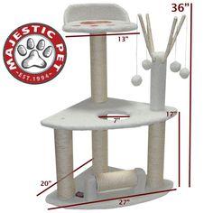 "36"" Bungalow Cat Tree Condo Scratching Post"