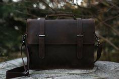 Vintage Crazy Horse Leather Briefcase Men Messenger Bag Laptop Bag