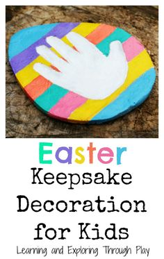 Easter Keepsake Homemade Decoration for Kids. Handprint Keepsake. Easter Gifts. Learning and Exploring Through Play