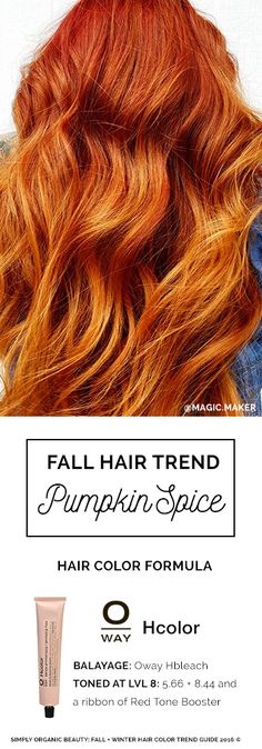 Perfect Pumpkin Spice Hair Color Formula by Erica Stevens with Oway Ammonia-Free Hcolor | Simply Organic Beauty | Fall Color Trends Formula Ebook 2016 © for Hair Stylists, by Hair Stylists @Simply_Organic #Oway @SimplyOrganicBeauty #FallHair @PumpkinSpice
