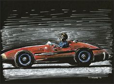 Juan Manuel Fangio on his way to winning the 1957 German Grand Prix, and his 5th World Championship, in a Maserati 250F.  © Paul Chenard Original sold.
