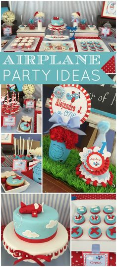 What a cute red and blue airplane first birthday party! See more party ideas at CatchMyParty.com!
