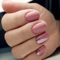 pink nails with glitter accent & pink nails . pink nails with glitter accent . pink nails with rhinestones . pink nails with glitter Classy Nails, Stylish Nails, Simple Nails, Cute Nail Art, Cute Nails, Pretty Nails, Classy Nail Designs, Nail Art Designs, Nails Design