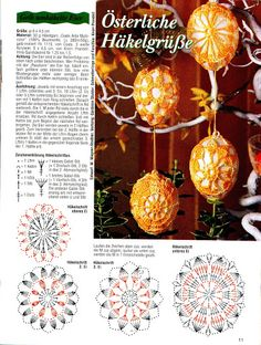 Christmas Crochet Patterns Part 9 - Beautiful Crochet Patterns and Knitting Patterns Crochet Christmas Ornaments, Christmas Crochet Patterns, Holiday Crochet, Easter Crochet, Holiday Ornaments, Christmas Crafts, Crochet Diagram, Crochet Motif, Crochet Doilies