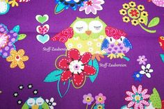 Blank Quilting Hoot Loves You Eulen Owls Uhu purple Blumen Herzen Baumwollstoff