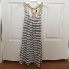 Vintage Havana Rope Coverup So cute with the rope design and wood disc back. Lightweight material. Stripes are grey and like an oatmeal/white. Worn once I think. Size tag says medium but I think it fits more line xs Vintage Havana Dresses Mini