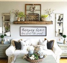 Vintage Farmhouse Decor Amazing Grace how sweet the sound wood sign, custom wood sign, living room decor, farmhouse sign - Room Decor, Rustic Farmhouse Living Room, Home, Living Room Wall, Shelves Over Couch, Table Decor Living Room, Side Table Decor, Living Room Designs, Farmhouse Decor Living Room