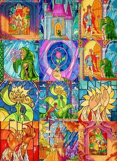 Stained-glass castle window from Disney& Beauty and the Beast. Disney Stained Glass, Stained Glass Christmas, Stained Glass Tattoo, Stained Glass Art, Glass Castle, Theme Star Wars, Belle And Beast, Disney Princess Tattoo, Pinturas Disney