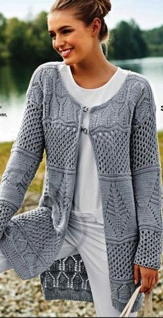 Isabell Kraemer The Purl Code Sweater Kit Sweater Knitting Patterns, Crochet Cardigan, Lace Knitting, Knit Crochet, Summer Cardigan, Knit Wrap, Knit Fashion, Fashion Top, Knit Jacket