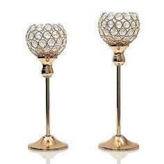 VINCIGANT Christmas Decoration Gold Crystal Candle Holder Set of 2 for Dinnin...