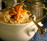 The magic of risotto lies in the way the grain absorbs the flavored liquids, along with the creamy cheese sauce, which is formed at the end of the process. This version of the classic is an exquisite way to spotlight the beauty of winter's vegetables. Quinoa Dishes, Rice Dishes, Food Dishes, Main Dishes, Sage Recipes, Best Gluten Free Recipes, Healthy Recipes, Healthy Foods, Roasted Root Vegetables
