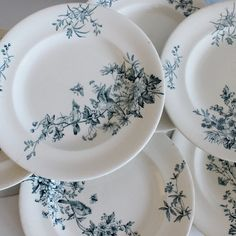 Set of 6 antique French faience transferware by ohlalacamille