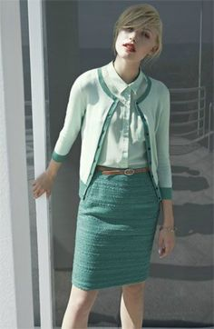 Mint cardigan; nubby pencil skirt; collared shirt. Classic; gives off vintage vibe; spring