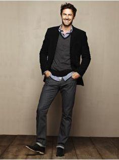 Moleskin blazer, V-neck sweater, Pinstripe shirt, 1969 skinny fit jeans... all from Gap.