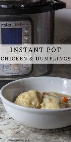 Instant Pot Chicken and Dumplings made with a creamy base hearty vegetables southern-style dumplings and tender bites of chicken- in just under an hour! Creamy Chicken And Dumplings, Cream Of Chicken Soup, Supper Recipes, Healthy Dinner Recipes, Sweets Recipes, One Pot Dinners, Best Instant Pot Recipe, Dumpling Recipe, Yummy Chicken Recipes