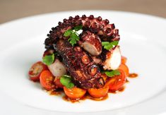 Have you ever wanted to serve your family a beautiful grilled octopus dish? Have you ever wanted to serve your family a beautiful grilled octopus dish? Thanks to Bianca at Del Octopus Recipes, Fish Recipes, Seafood Recipes, Gourmet Recipes, Cooking Recipes, Yummy Recipes, Gourmet Foods, Fish Dishes, Seafood Dishes