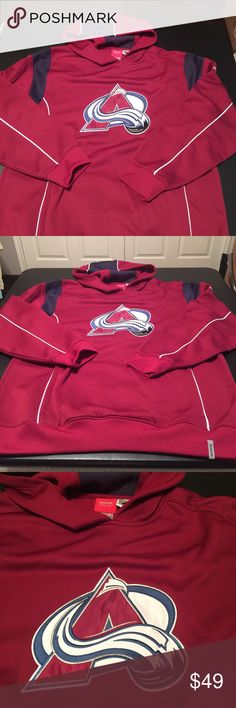 Reebok face off collection NHL large red jacket Reebok face off collection NHL size large for men's hundred percent polyester. Red wine color jacket with black. Pre-loved in excellent condition. The a sign on the front is like a patch a thick one.  Check out my closet, we have a variety of Victoria Secret, Bath and Body Works, handbags purse Aerosoles, shoes fashion jewelry, women's clothing, Beauty products, home decors & more...  Ships via USPS.  Always a FREE GIFT with every purchase…