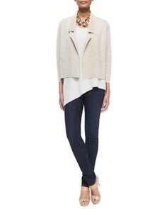 Interlock Boxy Short Jacket, Silk Asymmetric Draped Shell & Organic Soft Stretch Skinny Jeans by Eileen Fisher at Neiman Marcus.