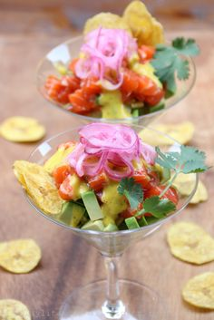 Avocado and salmon tartare with mango habanero sauce, pickled red onions and plantain chips ♡ ✦ ❤️ ●❥❥●* ❤️ ॐ ☀️☀️☀️ ✿⊱✦★ ♥ ♡༺✿ ☾♡ ♥ ♫ La-la-la Bonne vie ♪ ♥❀ ♢♦ ♡ ❊ ** Have a Nice Day! ** ❊ ღ‿ ❀♥ ~ Sat 22nd Aug 2015 ~ ❤♡༻ ☆༺❀ .•` ✿⊱ ♡༻ ღ☀ᴀ ρᴇᴀcᴇғυʟ ρᴀʀᴀᴅısᴇ¸.•` ✿⊱╮