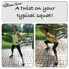 Try this twist on your typical squat! | Great for targeting INNER Thighs, as well as the butt and legs | Small modification = great results! | Enjoy ur toned bootay :)!| For MORE EXERCISES and RECIPES please SIGN UP for our FREE NEWSLETTER www.NutritionTwins.com