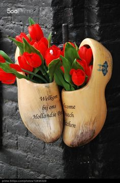 Amsterdam wooden clogs. - stock photo