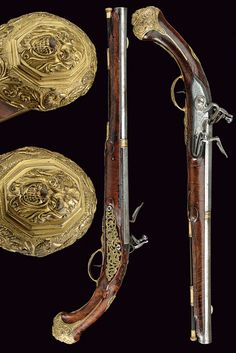 A pair of long flintlock pistols,    provenance:	 	Austria dating:	 	second quarter of the 18th Century.
